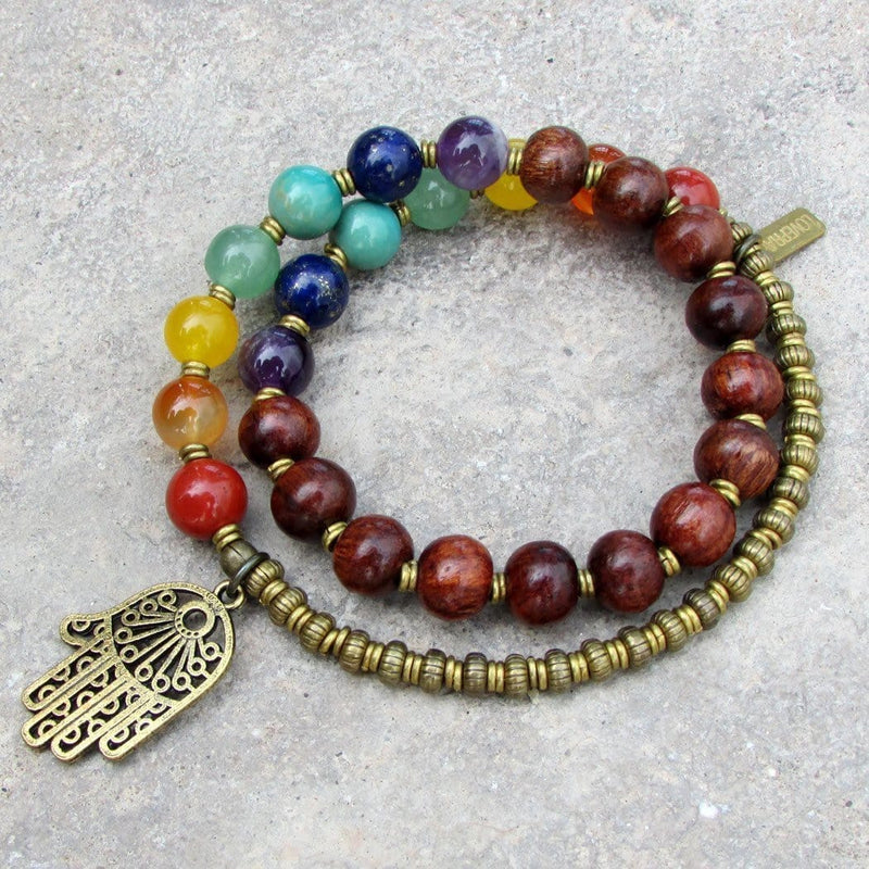 Bracelets - Chakra Bracelet, Genuine Gemstones And Wood 27 Bead Mala Wrap Chakra Bracelet