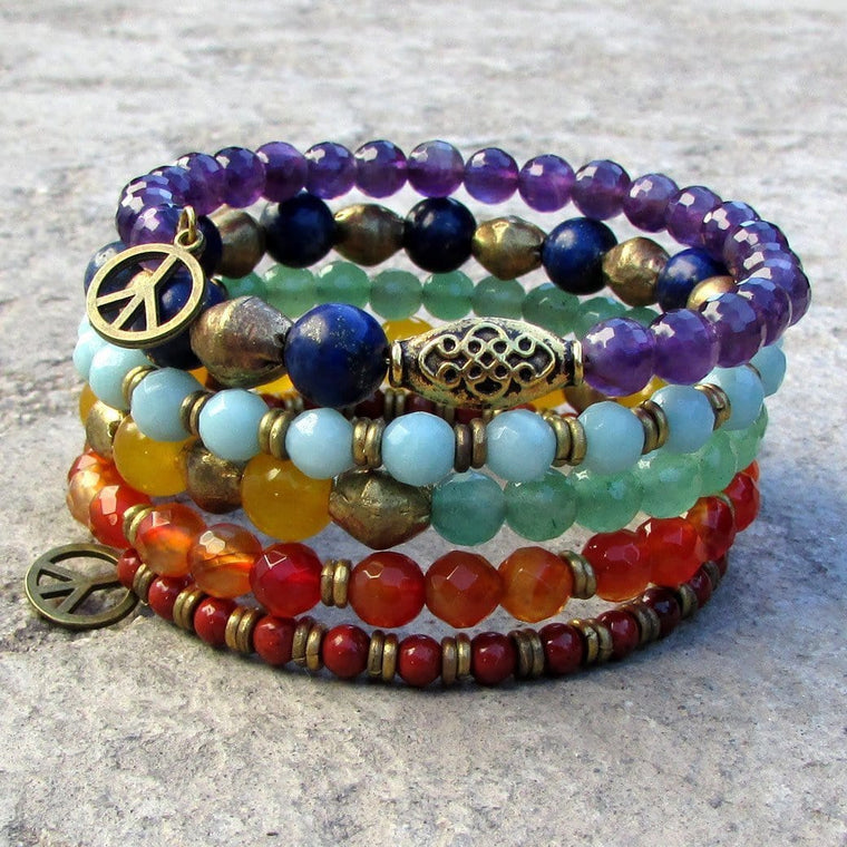 Bracelets - Chakra, Genuine Gemstone Multilayer Bracelet