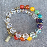 Bracelets - Chakras, Genuine Gemstones And Quartz Crystal 27 Bead Wrap Mala Chakra Bracelet