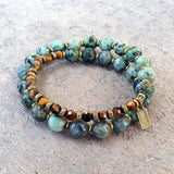 Bracelets - Change And Prosperity, African Turquoise And Tiger's Eye 27 Bead Wrap Mala Bracelet