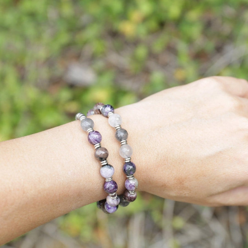 Bracelets - Charoite And Quartz Crystal Mala Bracelet