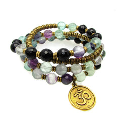 Bracelets - Cleanse And Soothe, Genuine Fluorite And Onyx 54 Bead Wrap Mala Bracelet
