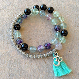 Bracelets - Cleansing And Soothing, Fluorite And Onyx 27 Bead Wrap Mala Bracelet