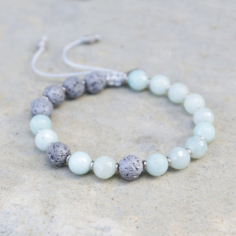 Bracelets - 'Communication' Amazonite Essential Oil Diffuser Adjustable Bracelet