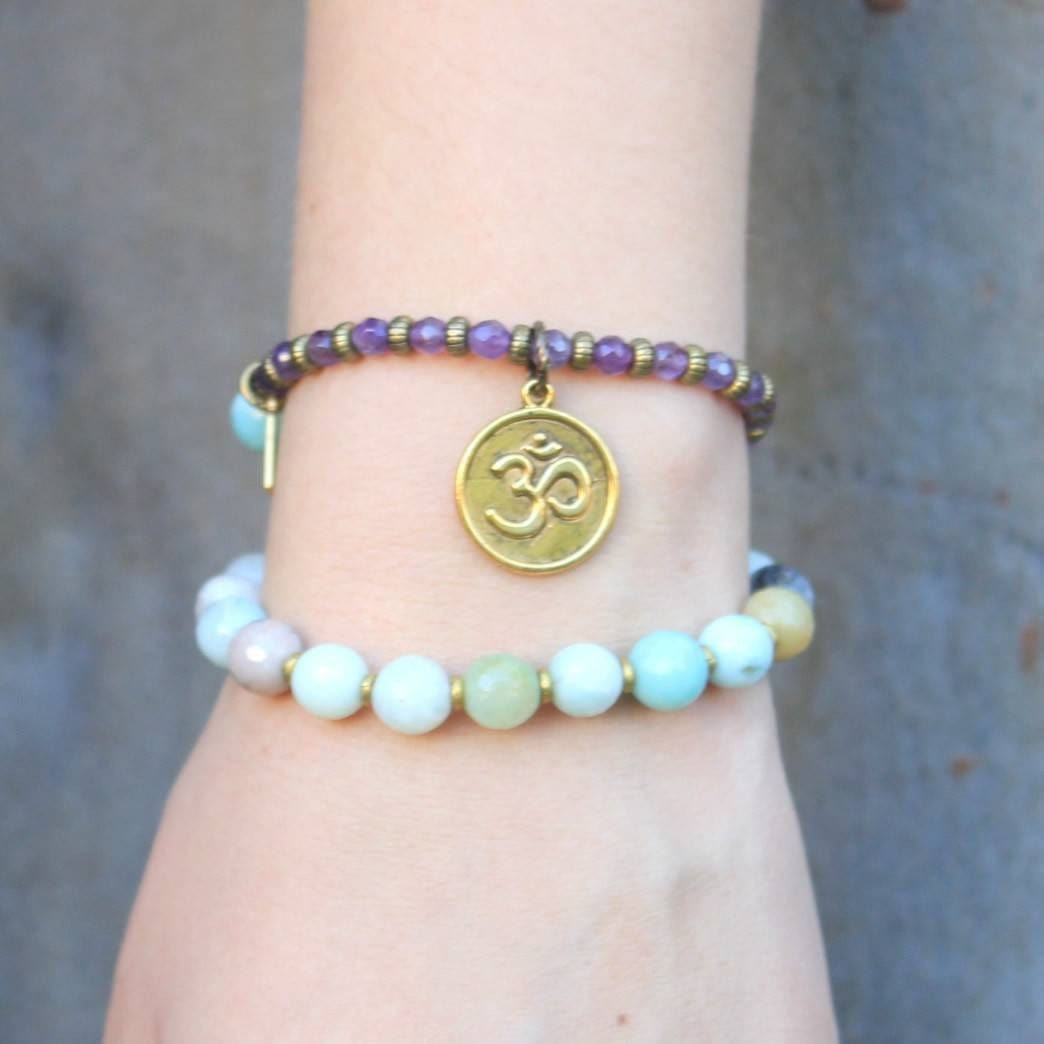 Bracelets - Communication And Healing, Amazonite And Amethyst 27 Bead Wrap Mala Bracelet™