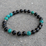 Bracelets - Communication And Patience, Turquoise And Onyx Mala Bracelet