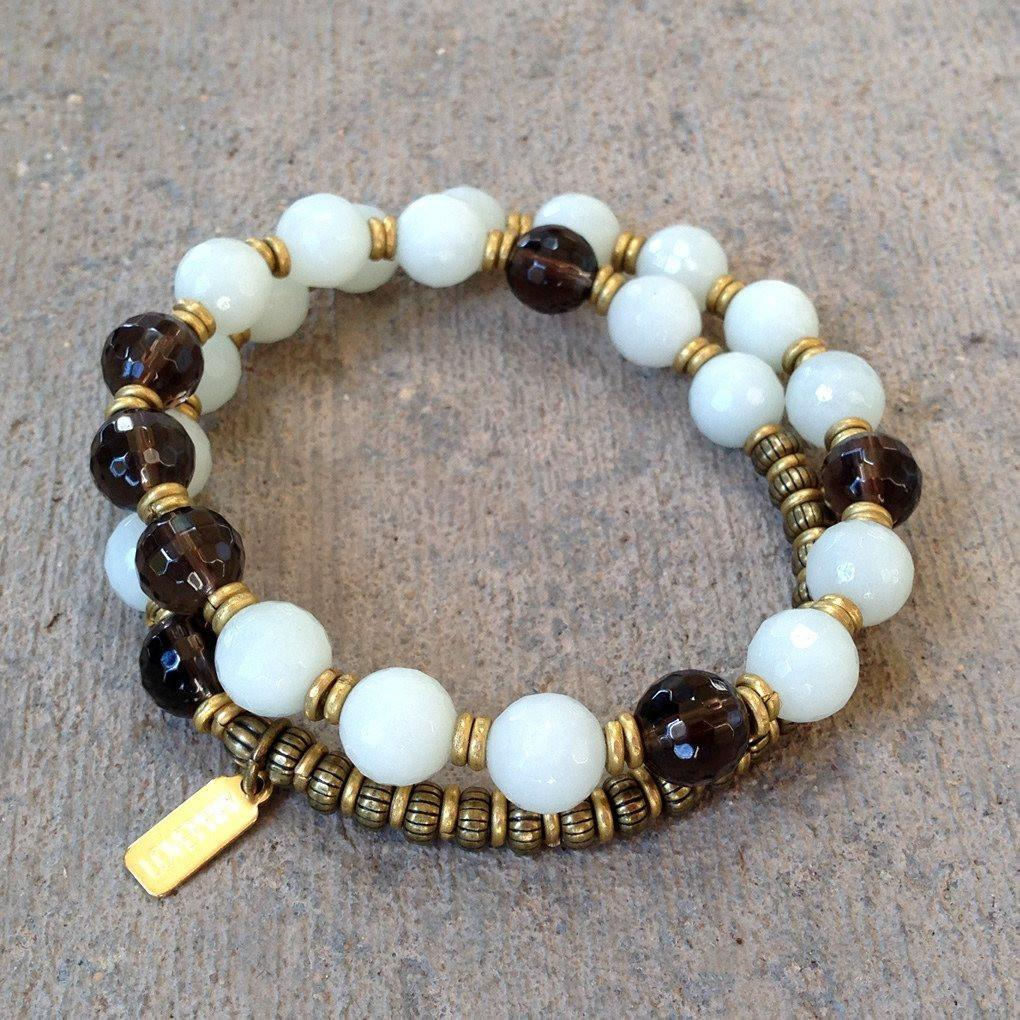 Bracelets - Communication and Positivity, Amazonite and Smoky Quartz 27 Bead Wrap Mala Bracelet