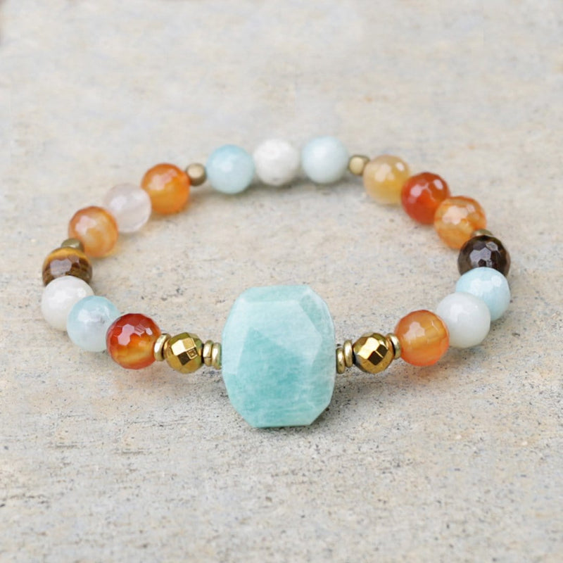 "Bracelets - ""Communication And Stability"" Amazonite And Carnelian Gemstone Bracelet"