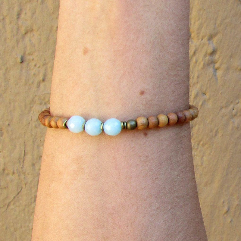 Bracelets - Communication, Fifth Chakra, Sandalwood And Amazonite Mala Bracelet