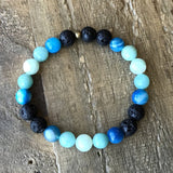 Bracelets - Communication' Throat Chakra Aromatherapy Lava Rock And Gemstones Diffuser Bracelet