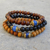 Bracelets - Compassion - Genuine Lapis Lazuli Guru Bead Sandalwood, Ebony, And Wood Beaded Set Of 3 Mala Bracelets
