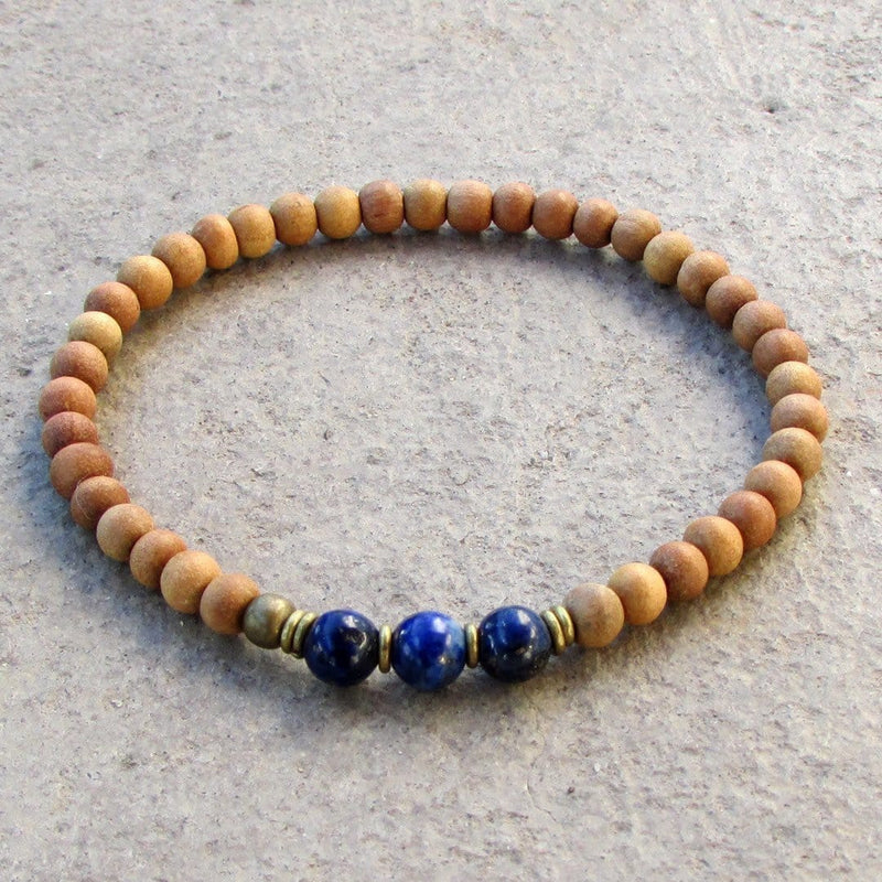 Bracelets - Compassion - Sixth Chakra, Sandalwood And  Genuine Lapis Lazuli Gemstone Mala Bracelet