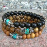Bracelets - Confidence And Communication - Set Of 3 Mala Bracelets, Sandalwood, Ebony, Turquoise Guru Bead