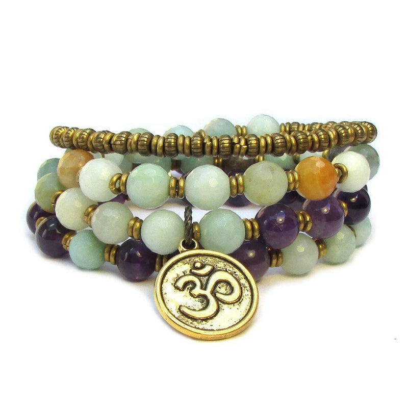 Bracelets - Confidence And Healing, Amazonite And Amethyst Convertible 54 Bead Wrap Bracelet Or Necklace