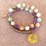 Bracelets - Confidence And Healing, Amazonite And Amethyst Gemstone 27 Beads Mala Bracelet