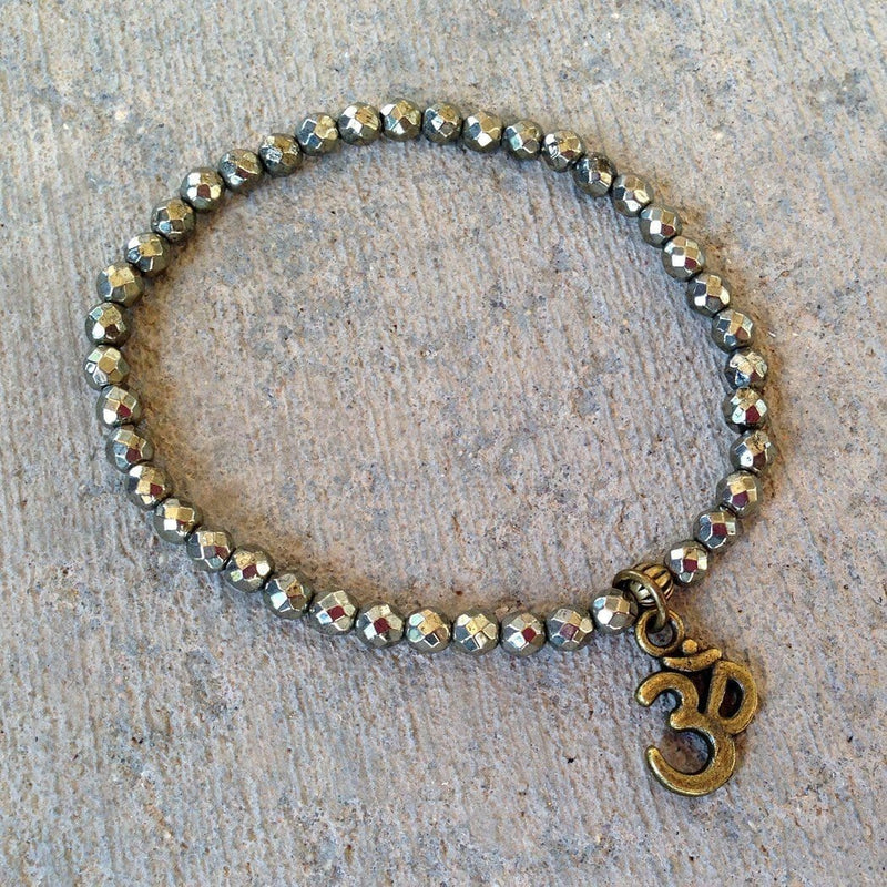 Bracelets - Confidence And Persistence, Fine Faceted Pyrite Gemstone Bracelet With Om Charm