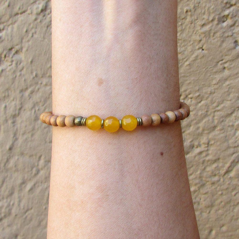 Bracelets - Confidence, Third Chakra, Sandalwood And Genuine Yellow Jade Mala Bracelet