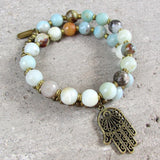 Bracelets - Confidence, Throat Chakra, Amazonite Gemstone 27 Beads Mala Bracelet With Hamsa Hand Charm