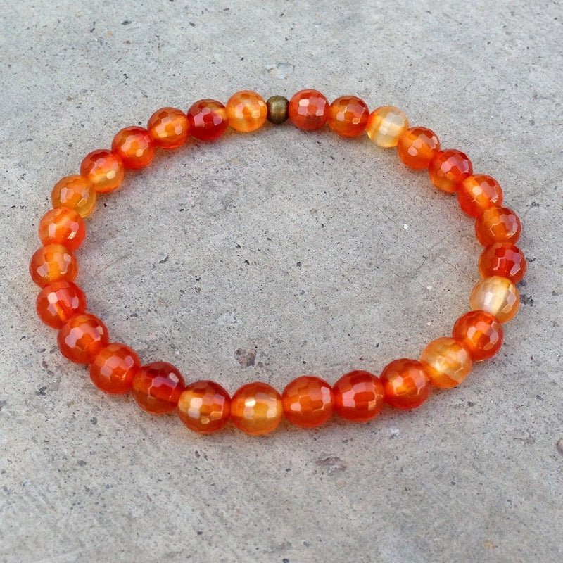 Bracelets - Creativity, Second Chakra Genuine Carnelian Gemstone Mala Bracelet