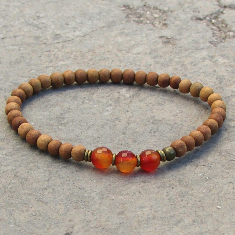 Bracelets - Creativity, Second Chakra, Sandalwood And Genuine Carnelian Gemstone Mala Bracelet