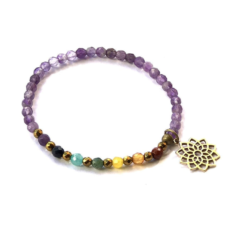 Bracelets - Crown Chakra Delicate Bracelet, With Chakra Gemstones And Amethyst