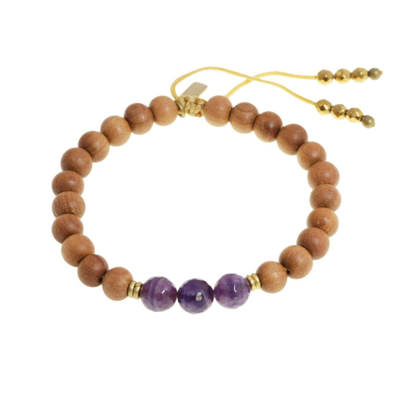 Bracelets - Crown Chakra Sandalwood Adjustable Bracelet
