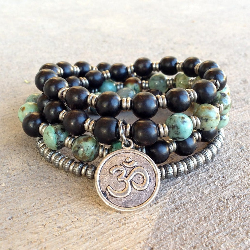 Bracelets - Ebony And African Turquoise 54 Bead Mala Necklace Or Wrap Bracelet With Om Charm