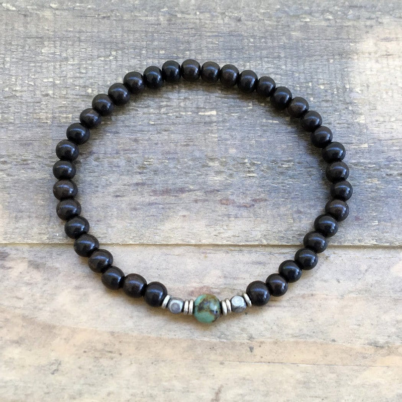 "Bracelets - Ebony And African Turquoise ""Strength And Change"" Unisex Bracelet"