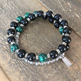 "Bracelets - Ebony And Malachite ""Strength And Intuition"" Men's 27 Bead Wrist Mala Unisex Bracelet"