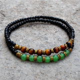 Bracelets - Ebony Mala Bracelets With Aventurine, Tiger's Eye Gemstone And African Trade Beads