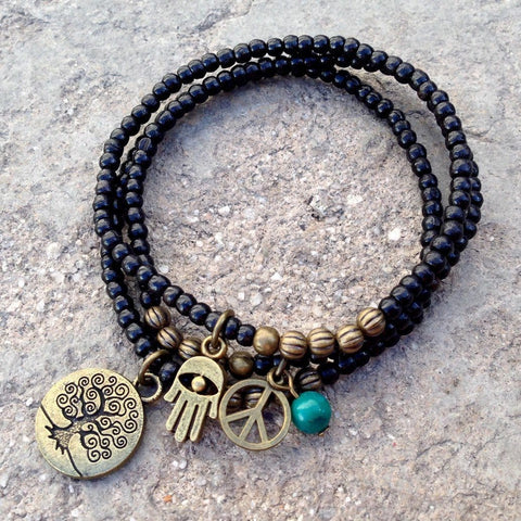 Ebony mala bracelets with Tree of Life and turquoise bead