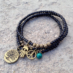 Bracelets - Ebony Mala Bracelets With Tree Of Life And Turquoise Bead