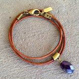 Bracelets - Emotional Healing, Greek Leather Wrap Bracelet Or Necklace With Faceted Amethyst Pendant