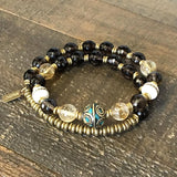 Bracelets - Energy And Abundance' Smoky Quartz, Citrine And Tibetan Capped Turquoise Guru Bead 27 Bead Wrist Mala Bracelet