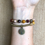 "Bracelets - Faceted Mookaite ""Eternal Youth And Adventure"" 27 Bead Mala Wrap Bracelet"