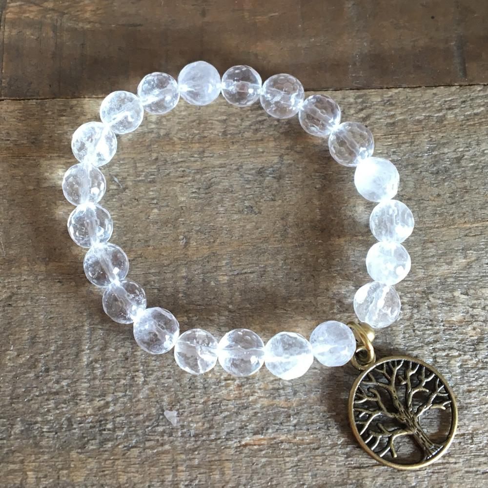 Bracelets - Faceted Rock Crystal Bracelet With Tree Of Life Charm