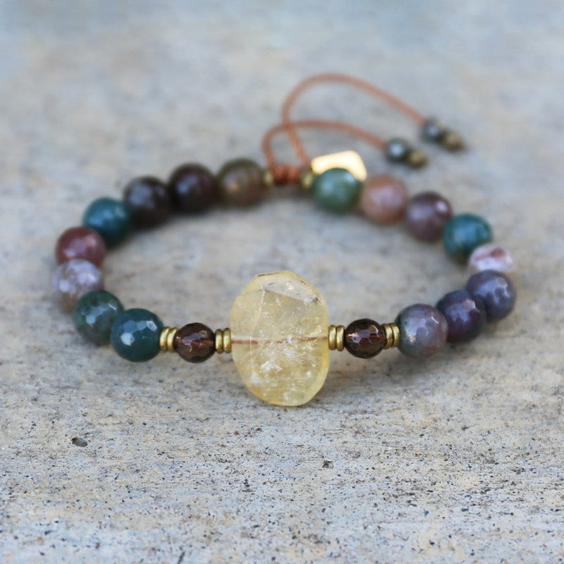 Bracelets - Fancy Jasper And Citrine Adjustable Bracelet