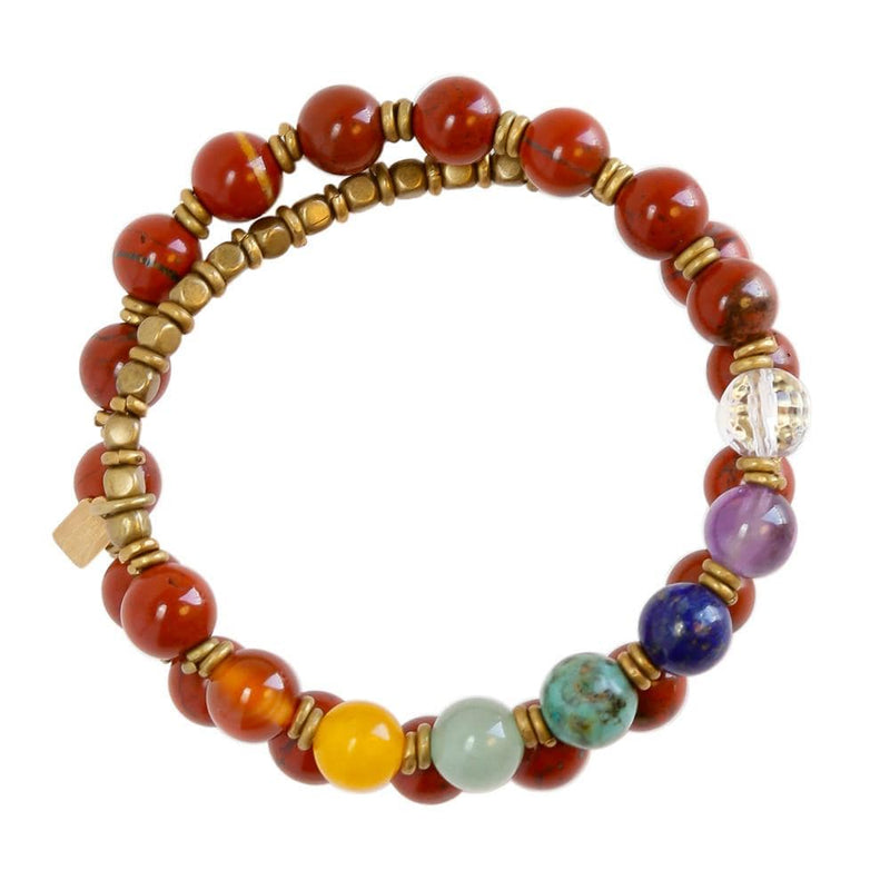 Bracelets - First Chakra, Genuine Red Jasper And Chakra Gemstones 27 Bead Wrap Mala Bracelet, Chakra Jewelry