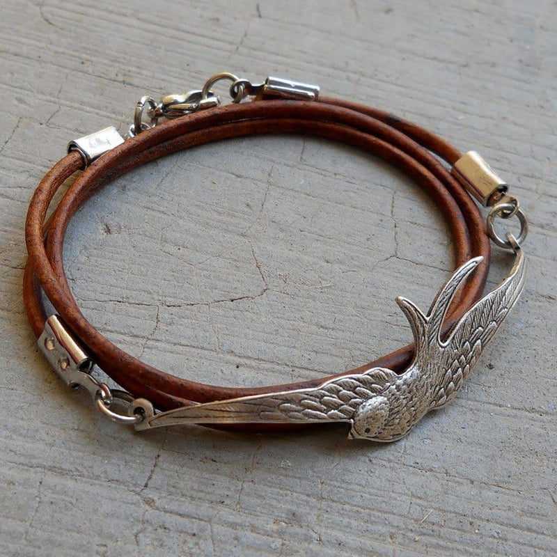 Bracelets - Fly Away - Antique Silver Vintage Sparrow Genuine Greek Leather Wrap Bracelet, Light Brown