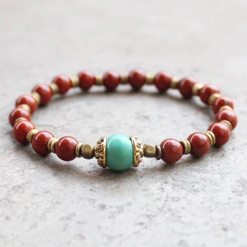 Bracelets - Genuine Red Jasper And Turquoise Gemstone Mala Bracelet