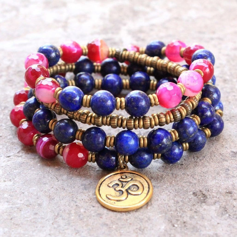 Bracelets - Grounding And Compassion, Pink Agate And Lapis Lazuli 54 Bead Wrap Mala Bracelet Or Necklace