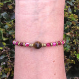 Bracelets - Grounding And Prosperity, Fine Faceted Pink Agate And Tiger´s Eye Bracelet