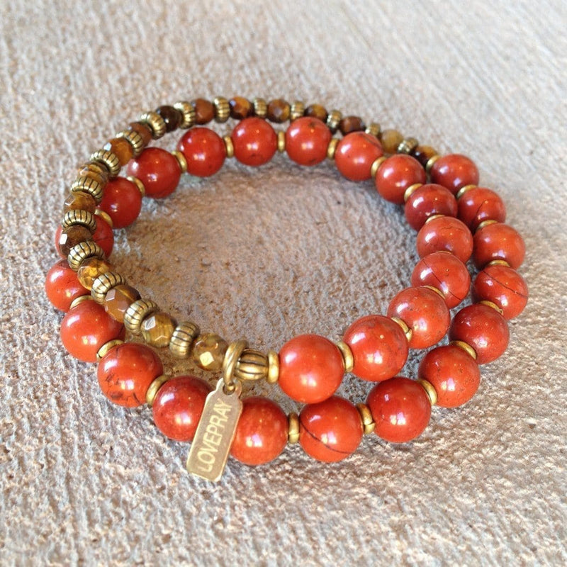 Bracelets - Grounding And Prosperity, Red Jasper And Faceted Tiger's Eye 27 Bead Wrap Mala Bracelet