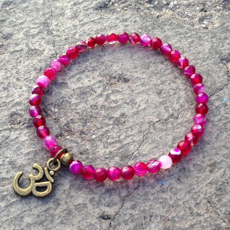 Bracelets - Grounding, Fine Faceted Pink Agate With Om Charm