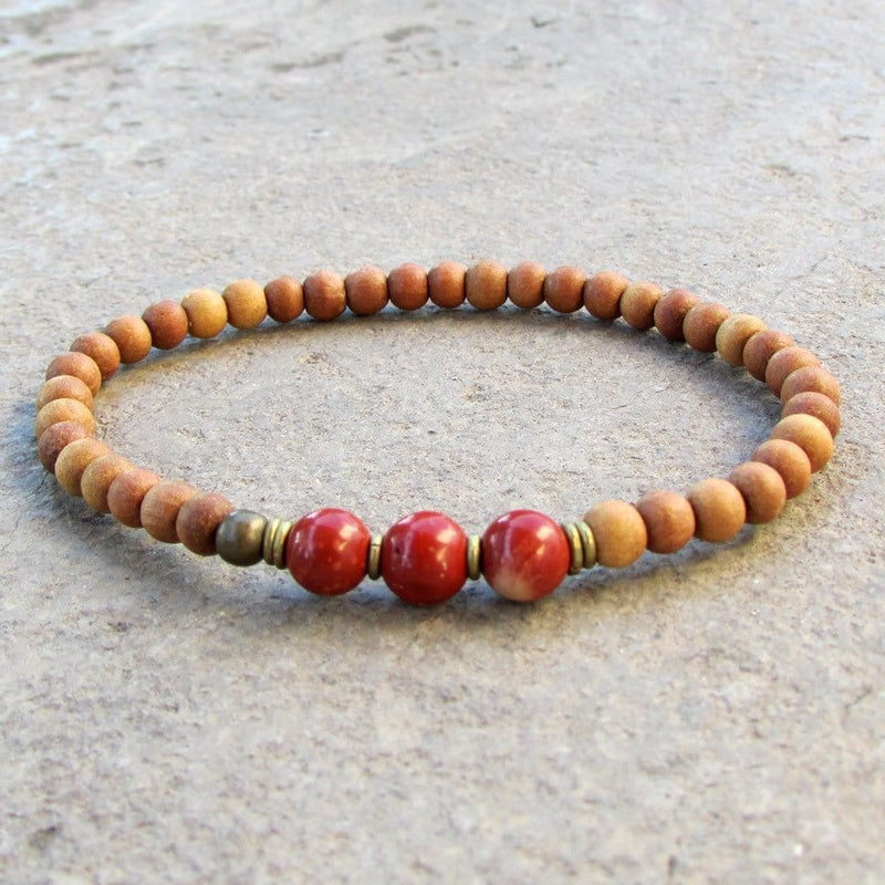 Bracelets - Grounding, First Chakra, Sandalwood And Genuine Red Jasper Gemstone Mala Bracelet