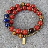 Bracelets - Grounding, Red Jasper, Tiger's Eye And Lapis Lazuli 27 Bead Wrap Mala Bracelet