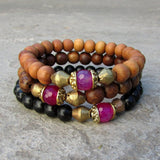 Bracelets - Grounding, Sandalwood, Genuine Ebony, Wood And Pink Agate Guru Bead Mala Bracelet Set