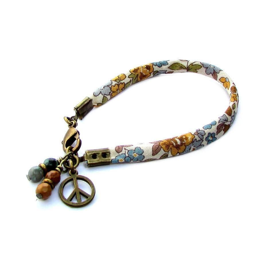 Bracelets - Gypsy, Ribbon Bracelet With Jasper And African Turquoise Charms