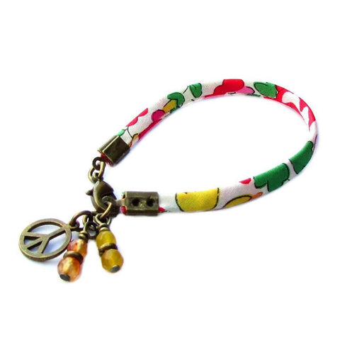 Happy, ribbon bracelet with yellow jade and carnelian charms