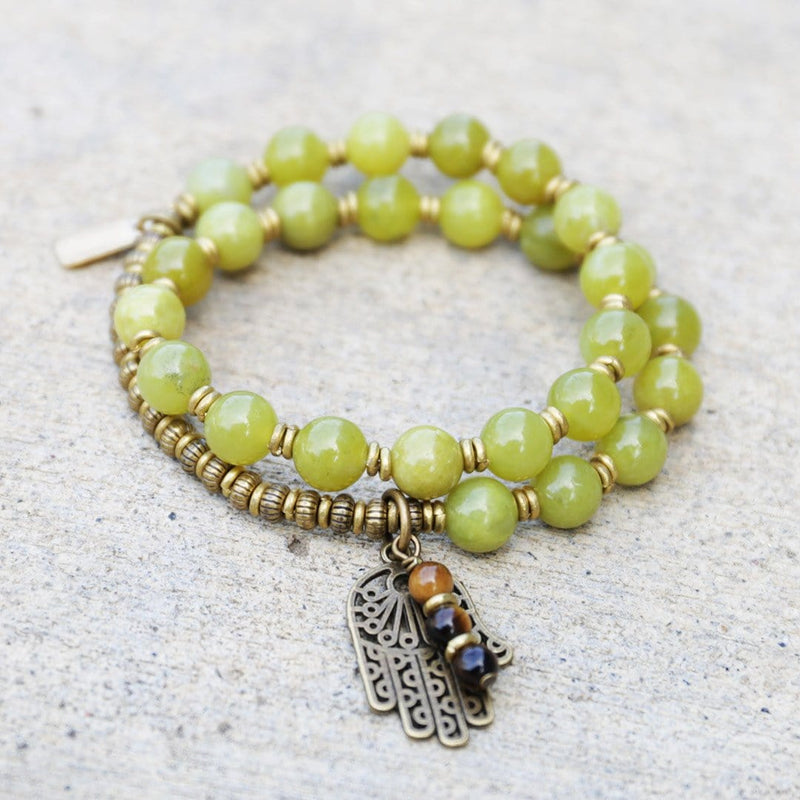 Bracelets - Harmony, Lemon Jade 27 Bead Mala Bracelet With Hamsa Hand And Tiger's Eye Charm